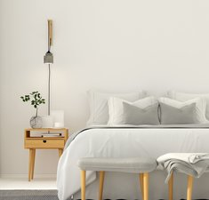 3D illustration. Modern bedroom interior in a light gray color with wooden furniture